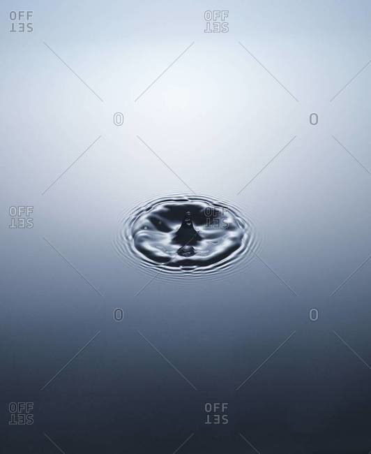 Close up of water drop and water surface
