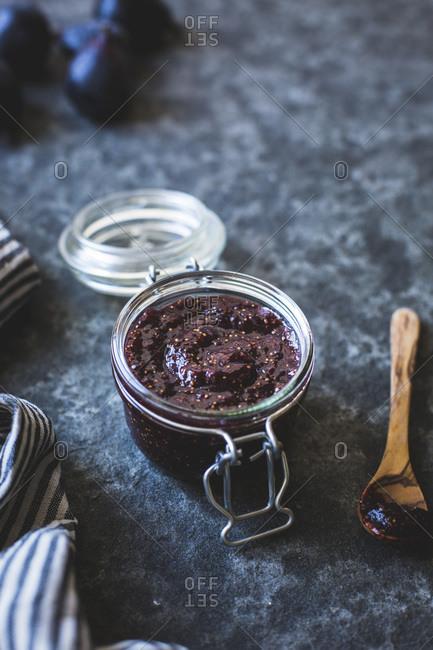 Jar of fig preserves