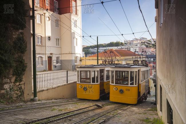 Lisbon, Portugal - June 18, 2011: Two trams in Lisbon