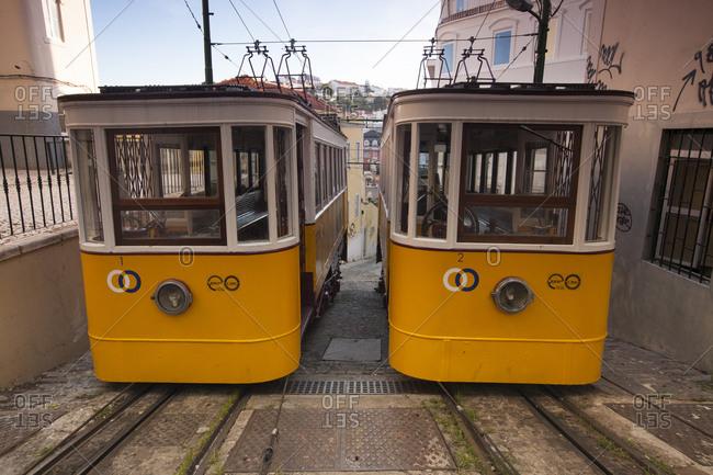 Lisbon, Portugal - June 18, 2011: Trams waiting for passengers