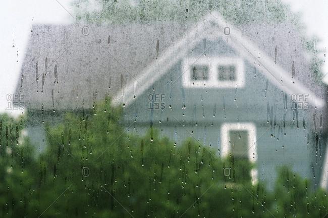 A rain streaked window