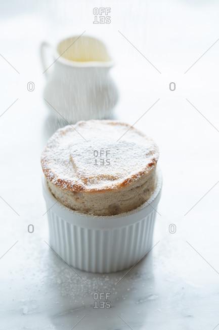 Ramekin with cooked souffle_