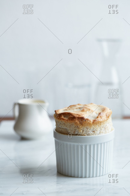 Ramekin with cooked souffle_ dessert