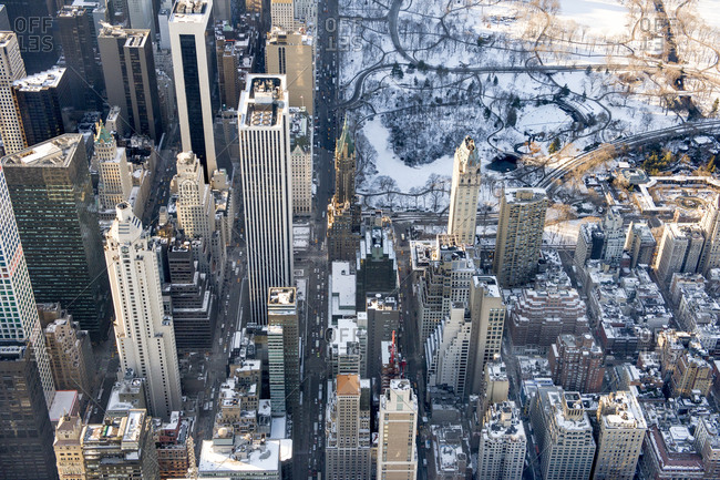 Skyscrapers and Central Park in the snow