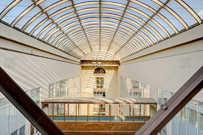 Arched atrium roof in a modern office building