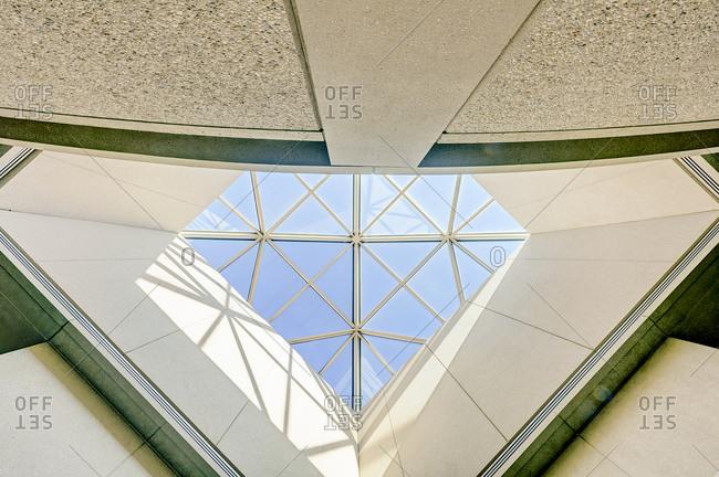 Modern geometric skylight viewed from below