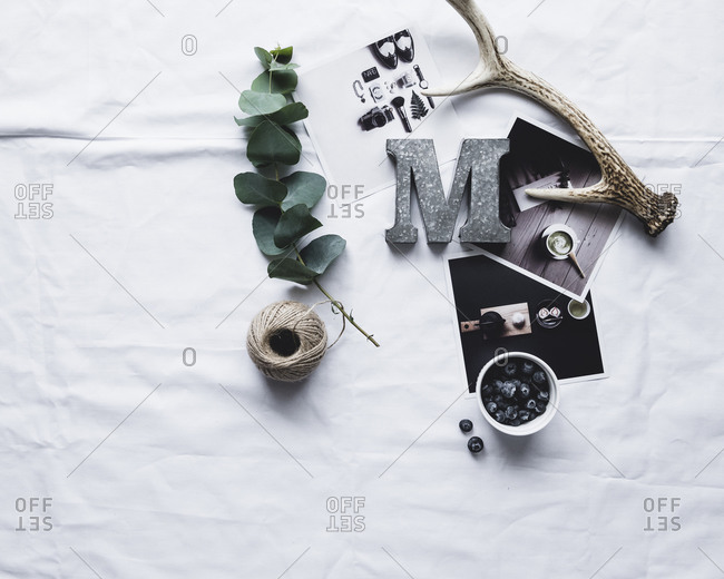 Photographs and other objects on a white piece of paper