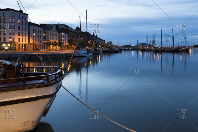 View to harbor at twilight