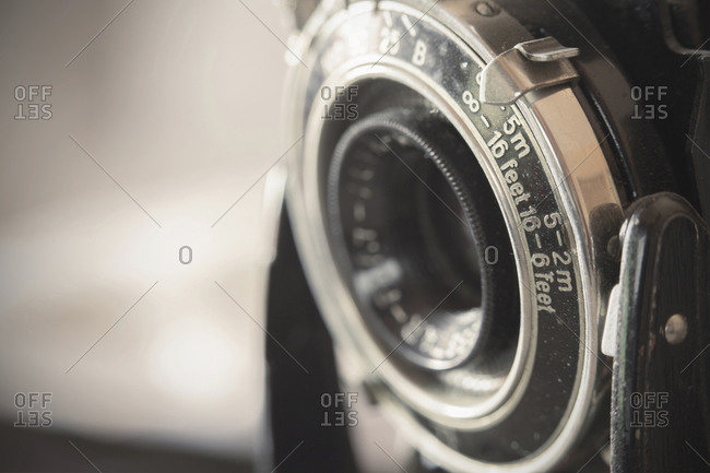 Close up of an old camera
