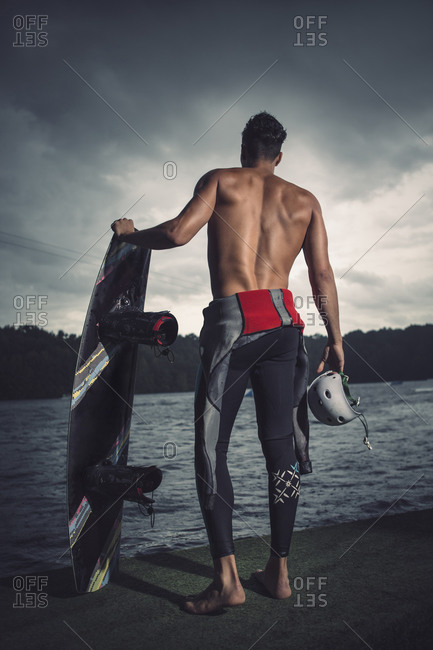 Back view of young wakeboarder