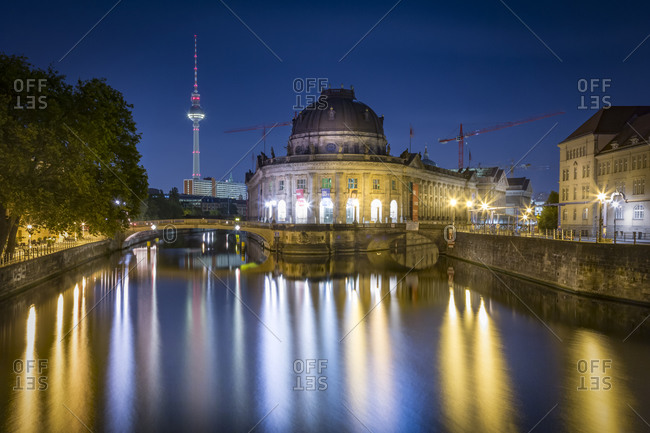 Bode Museum at the Spree river with TV-Tower at night