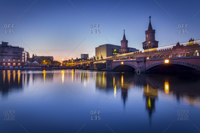 The Oberbaumbruecke crossing the Spree at twilight