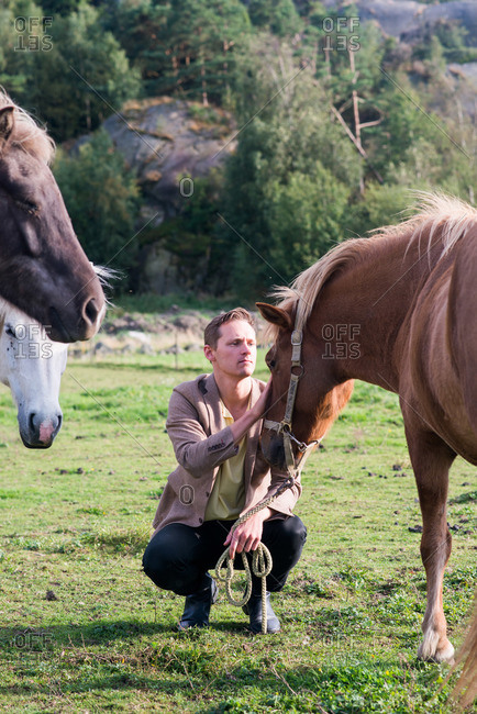 Man crouching and petting a horse's head in a field