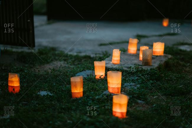 Paper lanterns on ground for wedding