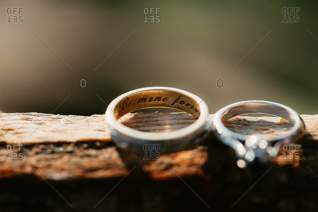 Engagement ring and wedding band with inscription