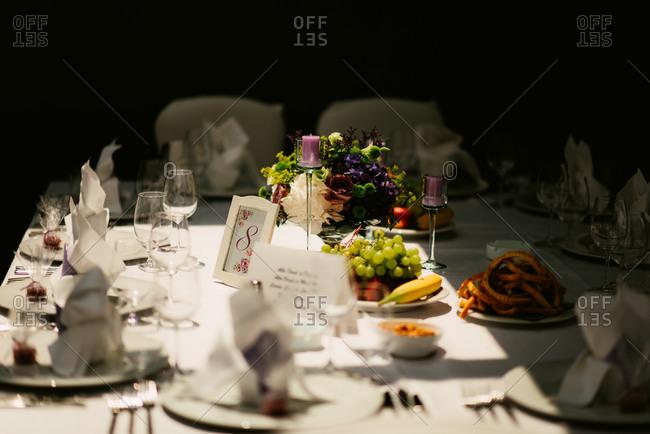 Wedding reception table in sunlight