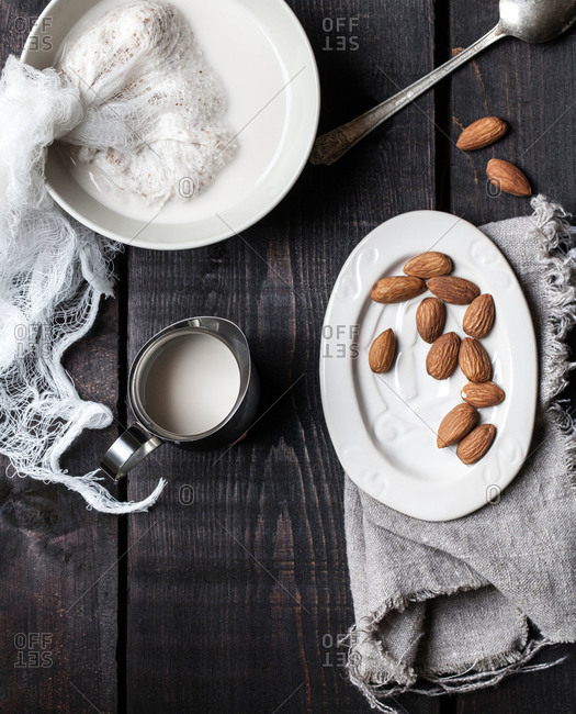 Overhead view of chopped almonds being soaked to produce almond milk