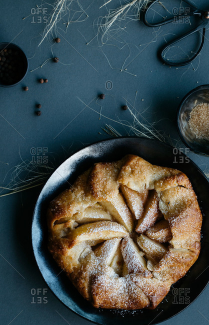 Overhead view of fresh apple galette dusted with confectioners sugar