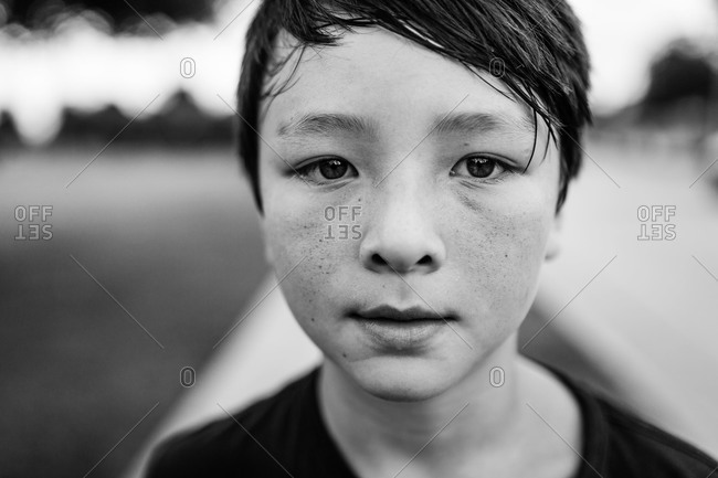 Black and white portrait of a pre-teen boy