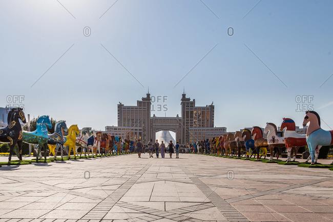 Astana, Kazakhstan - July 18, 2015: The plaza in front of the Khan Shatyr Entertainment Center, Astana, Kazakhstan
