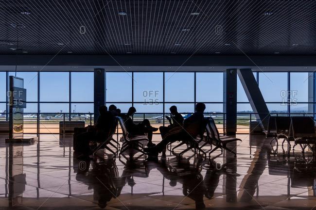A waiting area at an airport in Astana, Kazakhstan