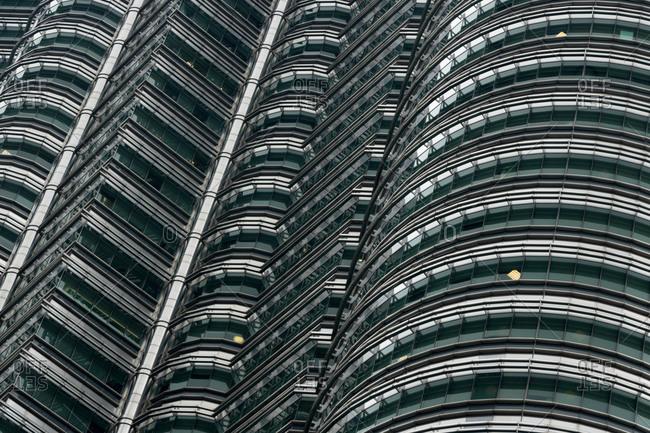 Kuala Lumpur, Malaysia - May 8, 2015: Petronas twin towers, close-up, Kuala Lumpur, Malaysia