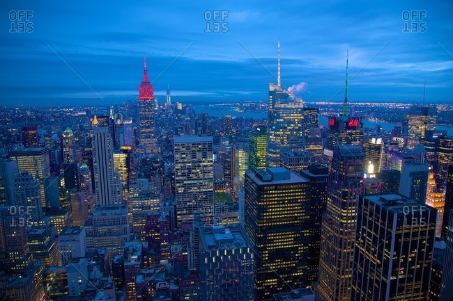 New York, NY, USA - May 22, 2015: Lower Manhattan from Top of The Rock