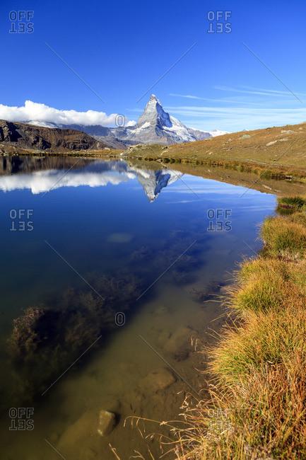 The Matterhorn reflected in Stellisee, Zermatt, Switzerland