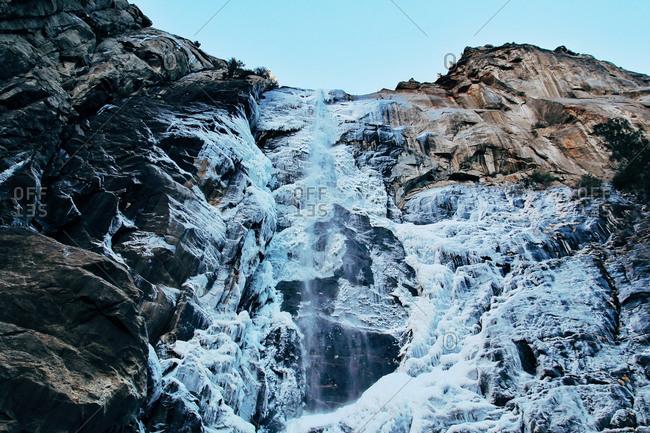 Frozen water on a mountainside