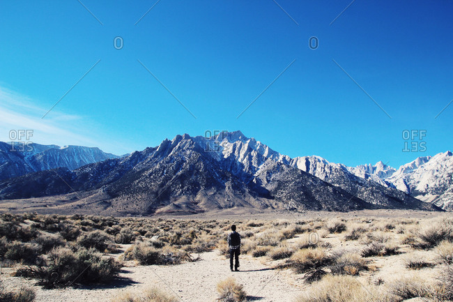 Man standing in a desert looking at snowy mountains