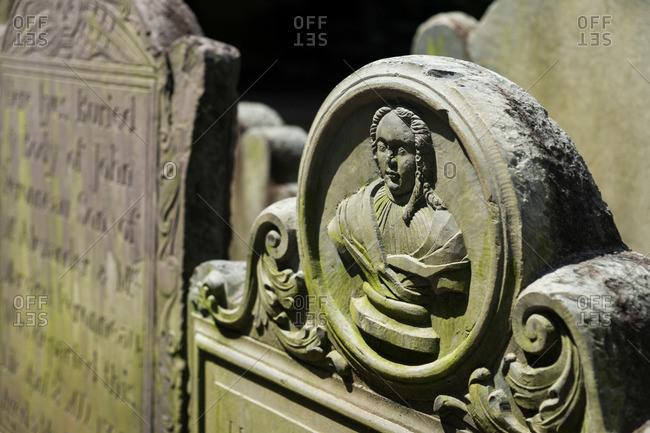 Headstone in an old church graveyard in Charleston, South Carolina