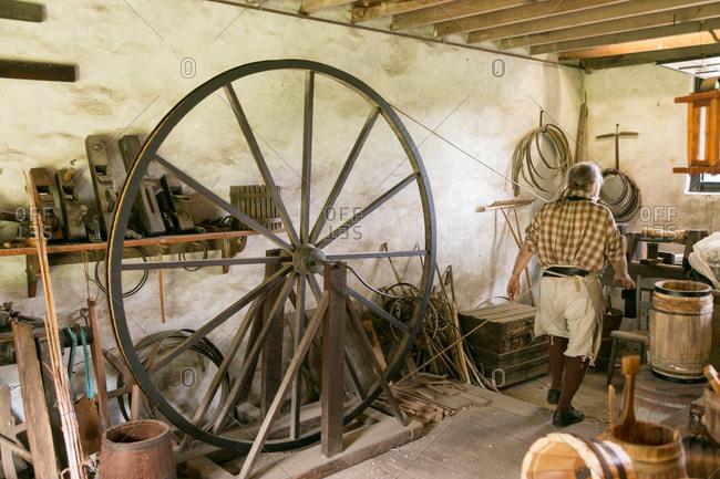 Mt. Pleasant, South Carolina - August 28, 2015: Antique tools in Middleton Plantation workshop in Mt. Pleasant, South Carolina
