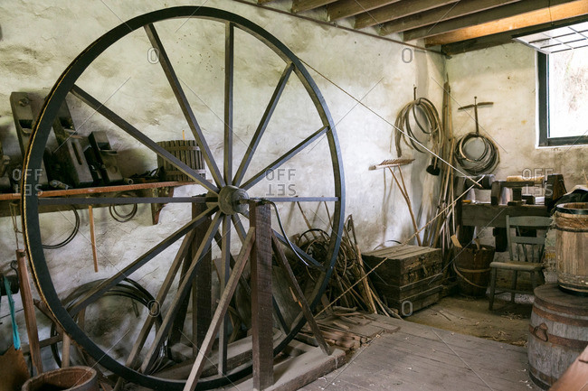 Mt. Pleasant, South Carolina - August 28, 2015: Workshop and antique tools in Middleton Plantation in Mt. Pleasant, South Carolina