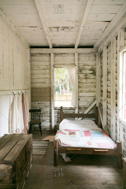 Mt. Pleasant, South Carolina - August 28, 2015: Bed in home of freed slave at Middleton Plantation in Mt. Pleasant, South Carolina