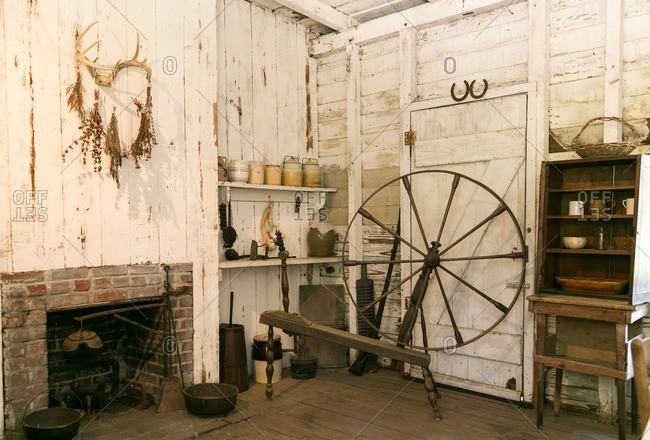 Mt. Pleasant, South Carolina - August 28, 2015: Interior of home of freed slave at Middleton Plantation in Mt. Pleasant, South Carolina