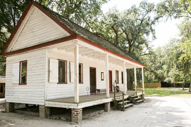Mt. Pleasant, South Carolina - August 28, 2015: Home of freed slave at Middleton Plantation in Mt. Pleasant, South Carolina