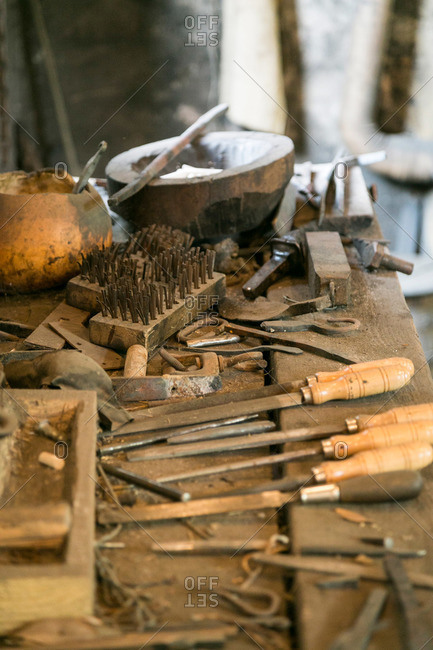 Tools in a blacksmith workshop at Middleton Plantation in Mt. Pleasant, South Carolina