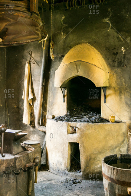 Blacksmith workshop with tools at Middleton Plantation in Mt. Pleasant, South Carolina
