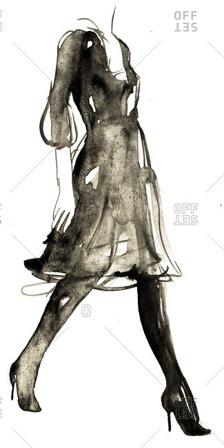 Fashion illustration of a woman in black