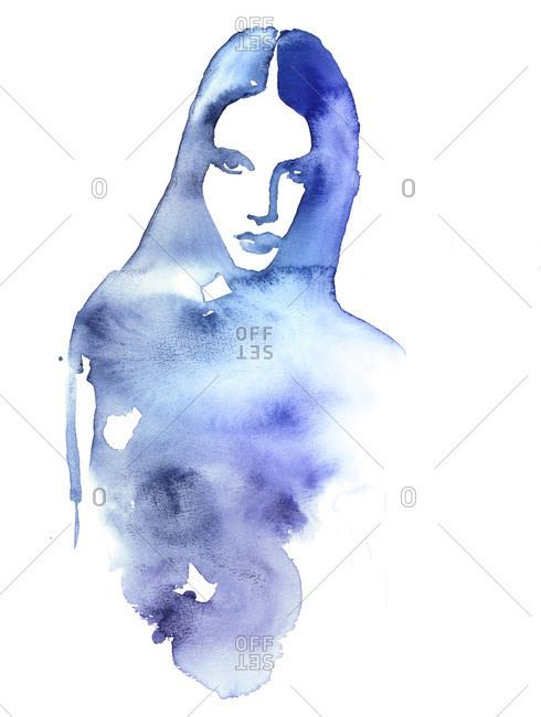 Blue ink wash portrait of a woman