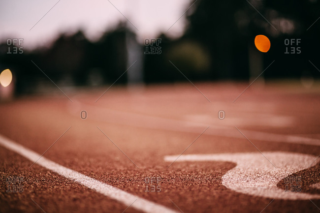 Close up of a running track
