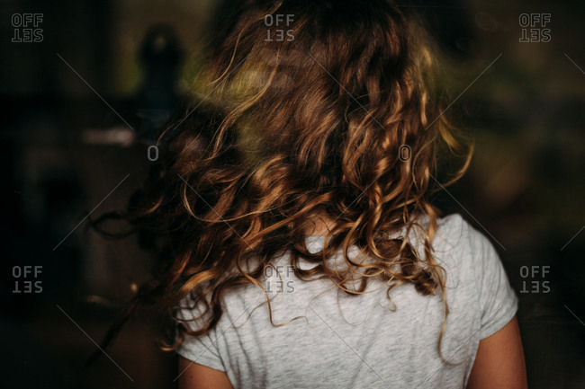 Back Of A Little Girl With Curly Hair Stock Photo Offset