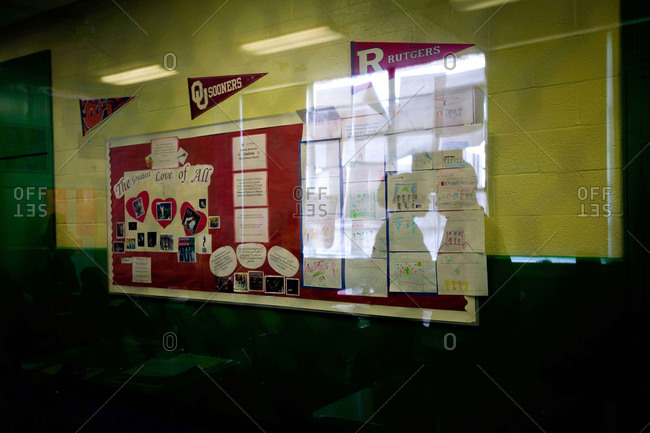 Washington D.C. - April 10, 2012: A fifth grade math class is reflected in the window look out into the hallway of Stanton Elementary