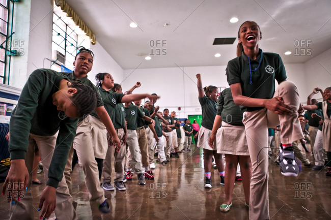 Washington D.C. - October 18, 2012: Students practice a dance that emphasizes the importance of learning at an end of the year celebration at Stanton Elementary