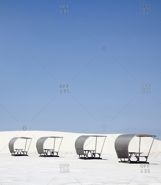 Shaded picnic tables in White Sands National Monument