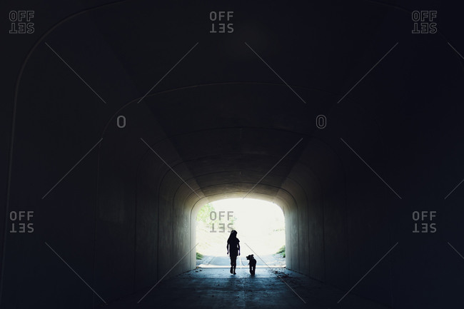 Girl and dog walking together in tunnel