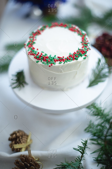 Red velvet cheesecake in holiday setting