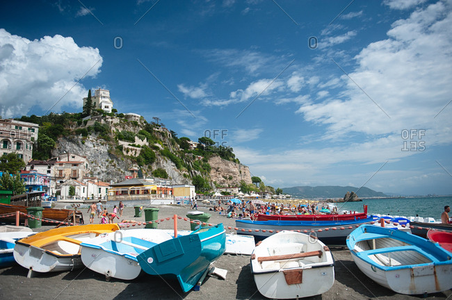 Boats grounded near coastal beach village
