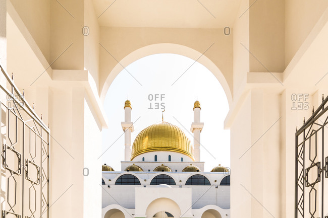 View of dome of the Nur-Astana Mosque in Astana, Kazakhstan