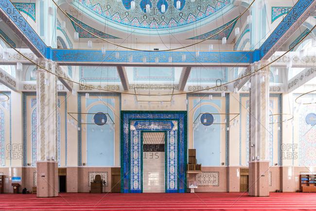 Astana, Kazakhstan - July 18, 2015: Prayer hall in the Nur-Astana Mosque